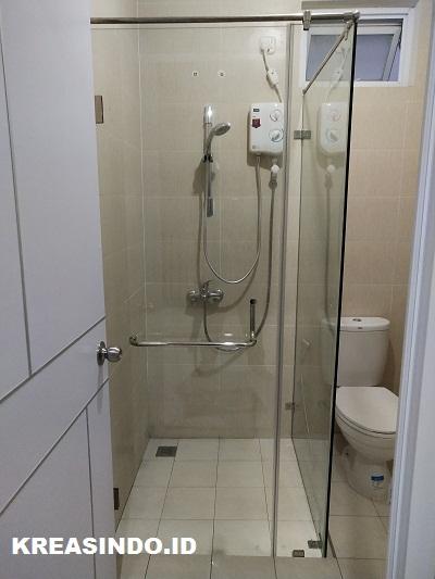 Kaca Tempered Shower dan Kaca Cermin Westafel pesanan Bpk Ahmad Mulyono di Sentul City