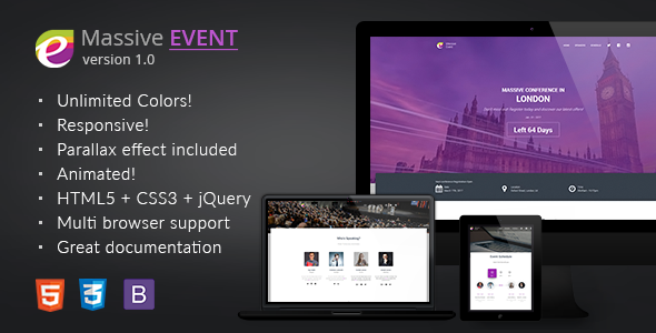 MASSIVE EVENT - Conference and Event HTML5/CSS3 Template | Download ...