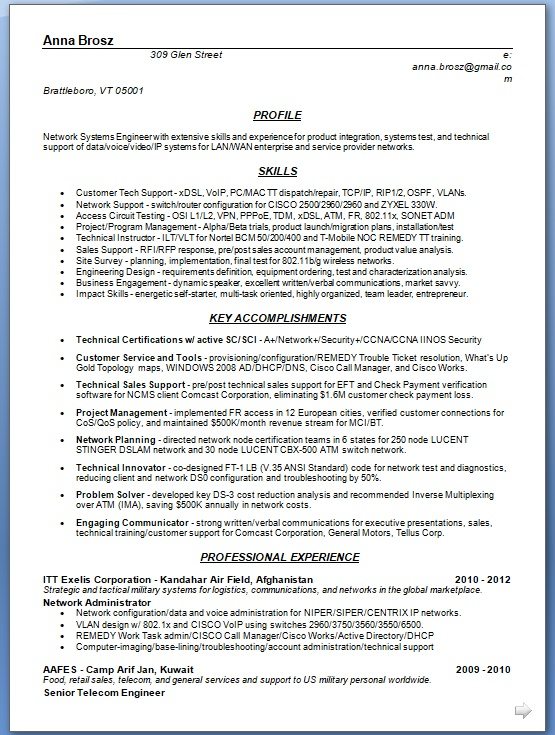 network systems engineer sample resume format in word free