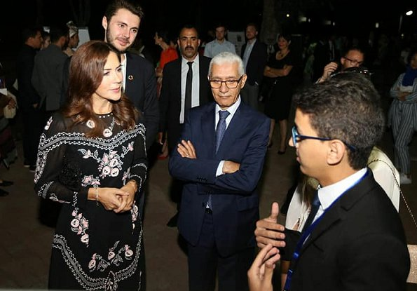 Crown Princess Mary wore Vilshenko black floral embroidered midi dress, and Notes du North lex metallic tweed blazer, Prada bag