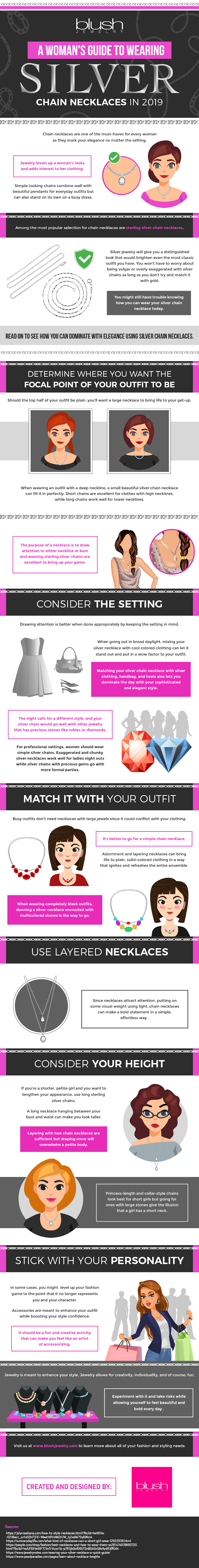 A Woman's Guide to Wearing Silver Chain Necklace in 2019 #infographic