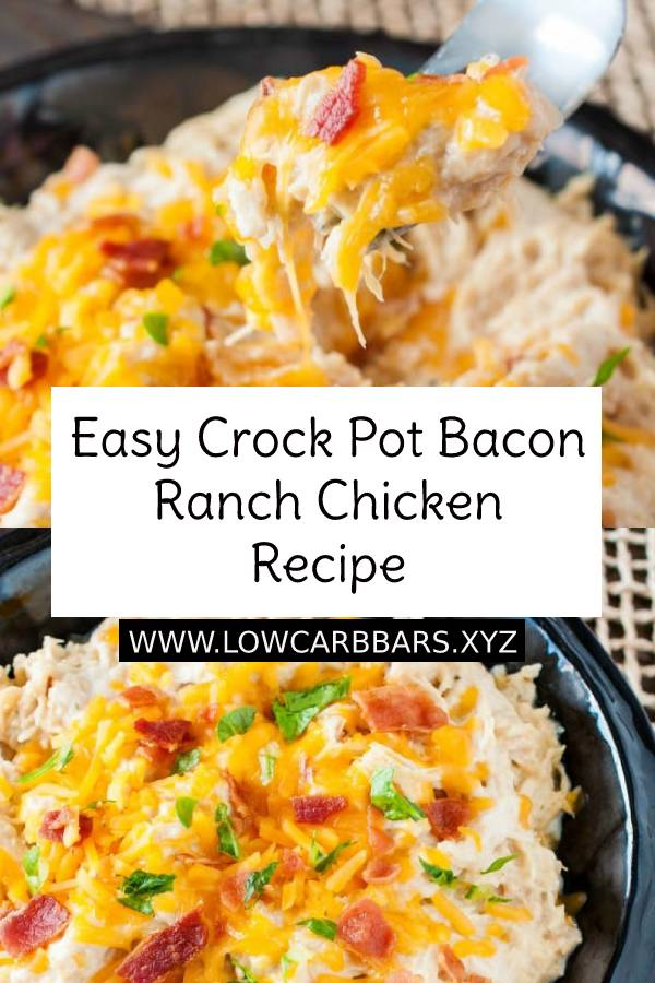 Easy Crock Pot Bacon Ranch Chicken is one of the easiest and most delicious chicken recipes ever! Wondering what to make for dinner tonight? This is it! This is one of those meals your family will beg you to make again and again. And you will be thrilled because it's seriously one of the easiest dinner recipes ever, and it's crazy delicious! #crockpot #chicken #easychickenrecipe #dinner #maindish #dish #dinnerrecipe #easydinnerrecipe #easydinner #bacon #lowcarb