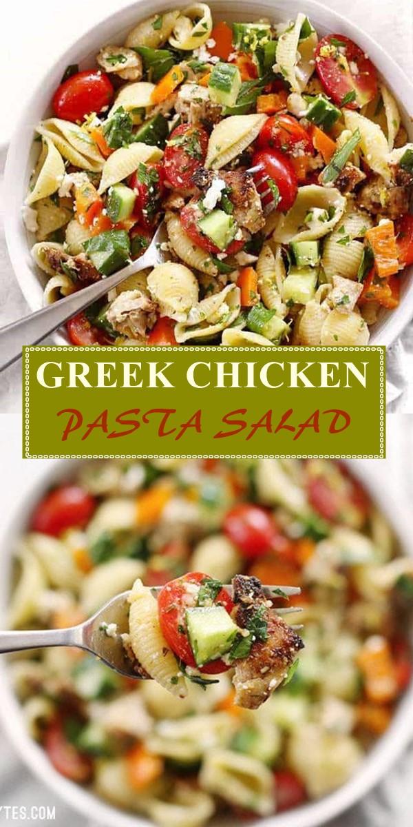 GREEK CHICKEN PASTA SALAD #pastarecipes