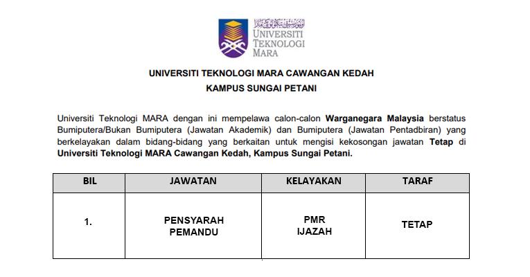 Jawatan Kosong di UiTM Kedah [ Jawatan Akademik & Pentadbiran ]