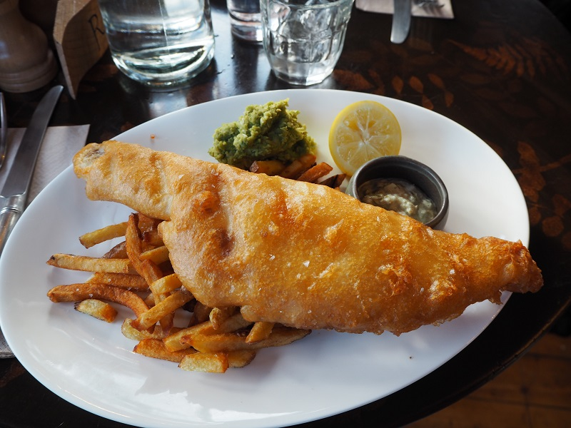 Beer battered fish and chips at the Flying Stag