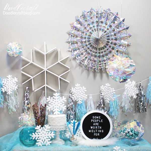 Frozen Inpsired Party with Blue Silver Snowflakes
