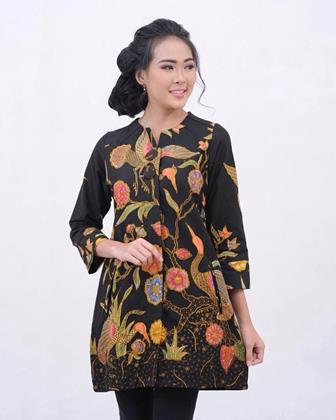 Model Baju Batik Kerja Kombinasi Kain Polos Trendi Dan Elegan