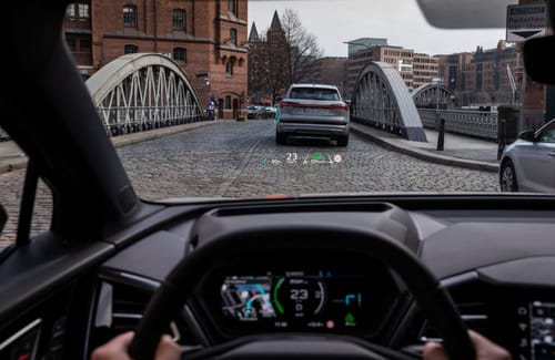 Audi displays the Q4 E-Tron's augmented reality screen