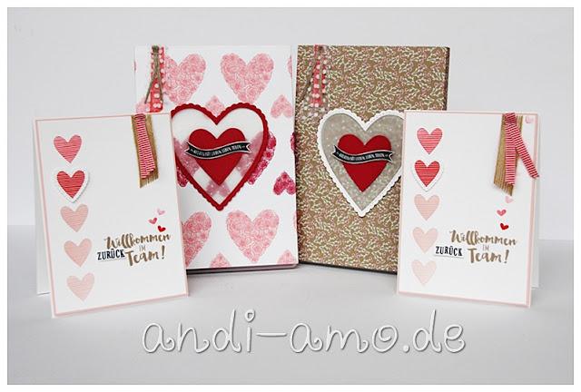 Karte und Geschenk Herzenssache Stampin Up Herzlich Bestickt