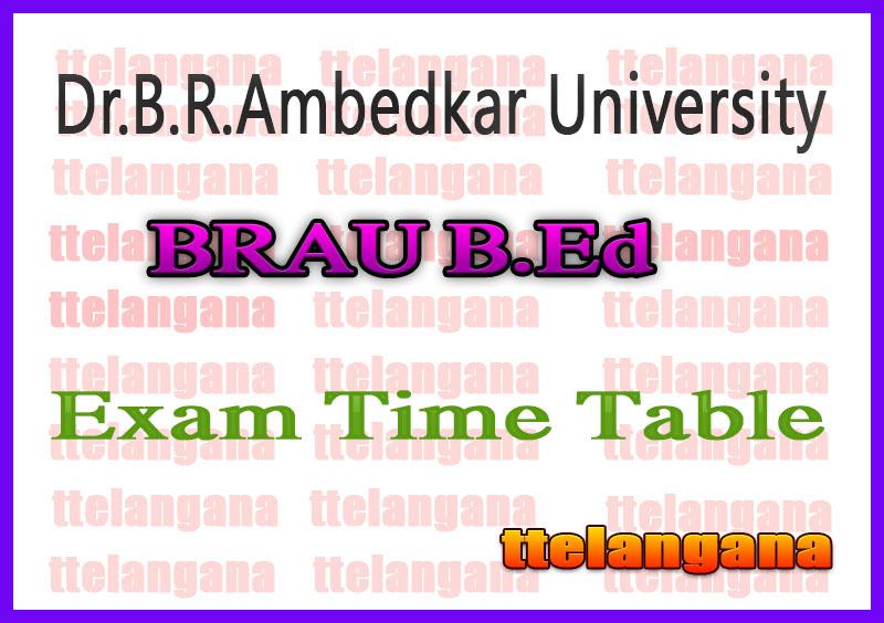 Dr.B.R.Ambedkar University BRAU B.Ed III Sem Exam Time Table