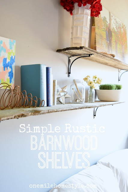 Create your own rustic barnwood shelves to add the perfect rustic charm to your home. - One Mile Home Style