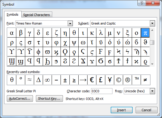 how to write theta in word