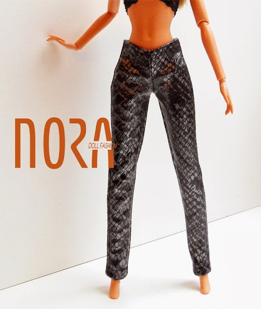 Faux lether pants for Barbie doll