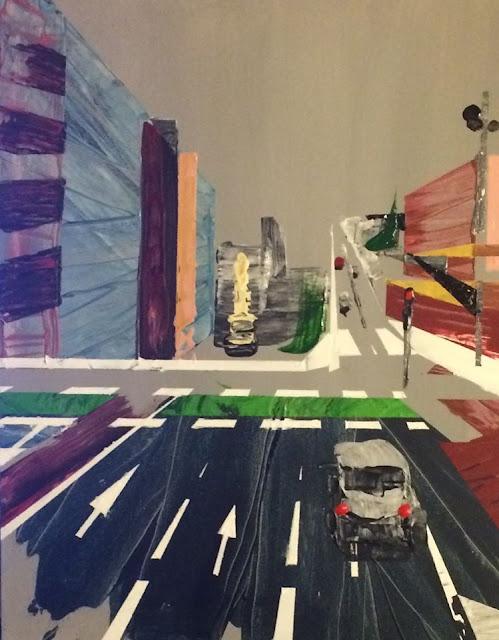 peinture acrylique de Karine Babel, l'avenue de Belfort, à Toulouse
