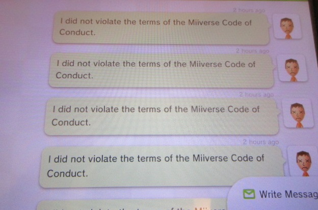 I did not violate the terms of the Miiverse Code of Conduct admin