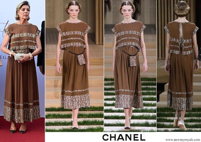 Princess Caroline in Chanel brown dress