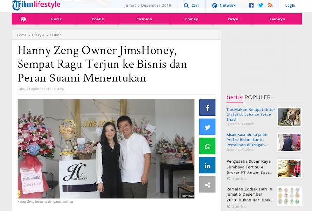 Hanny Zeng Owner JimsHoney, Sempat Ragu Terjun ke Bisnis dan Peran Suami Menentukan