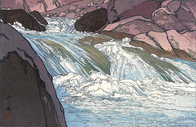 a Yoshida Hodaka print of a river rapids