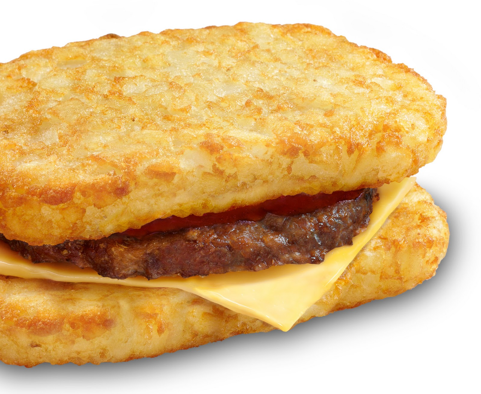 McDonalds Cheeseburger sandwiched between Two Hash Browns
