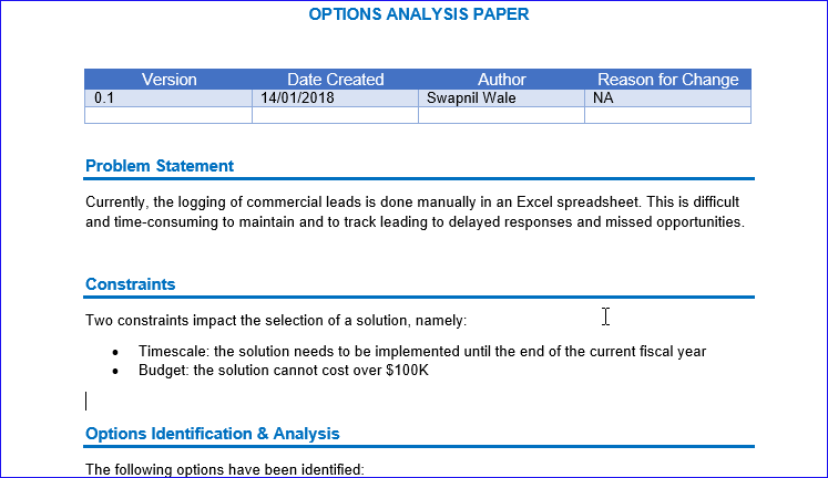 Real Options Analysis Example