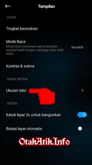 Pilih menu Ukuran teks