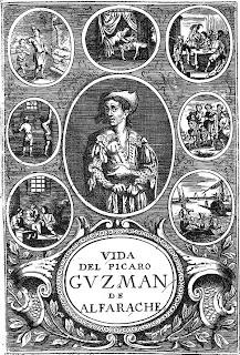 Grabado de la portada de 'Vida y hechos del pícaro Guzmán de Alfarache, atalaya de la vida humana'- Amberes, 1681 - Gaspar Bouttats, grabador - Jerónimo Verdussen, impresor