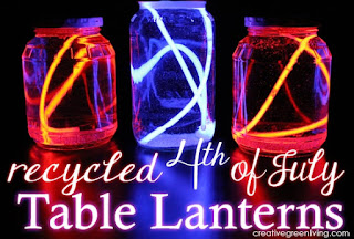 How to Make Recycled Fourth of July Table Lanterns #creativegreenliving