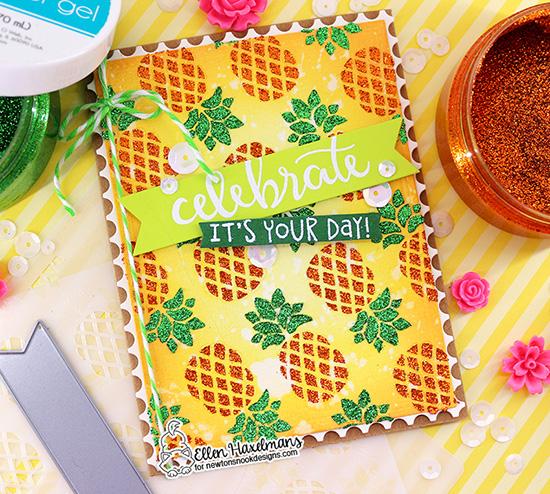 Pineapple Card by Ellen Haxelmans   Pineapple Stencil, Birthday Essentials Stamp Set and Framework Die Set by Newton's Nook Designs #newtonsnook #handmade