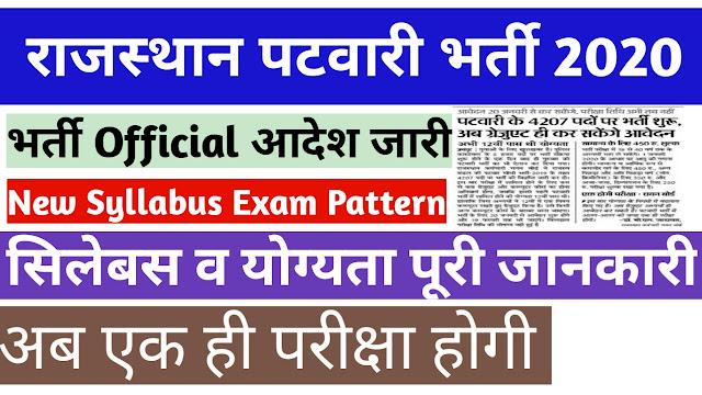 Rajasthan Patwari Recruitment 2019 Notification  में Online Form 2020 at rsmssb.rajasthan.gov.in
