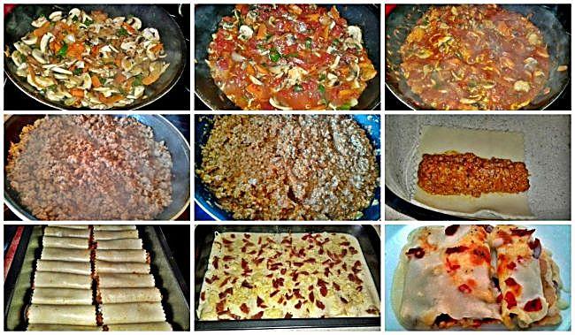 Preparación de los canelones a la boloñesa con jamón y queso