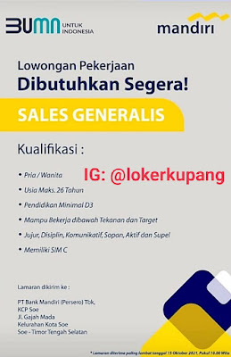 Lowongan Kerja Bank Mandiri KCP Soe Sebagai Sales Generalis