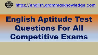 English Aptitude Test Questions