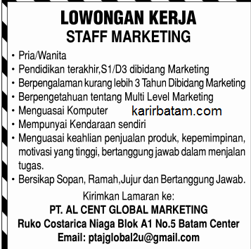 Lowongan Kerja PT. Alcent Global marketing
