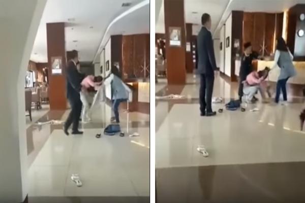 Video Istri Sah Menciduk dan Hajar Pelakor di Lobi Hotel, Suaminya Hanya Terdiam