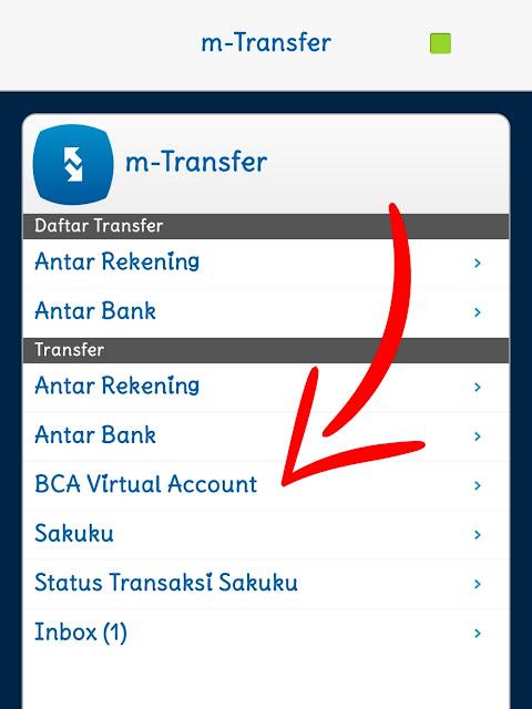 Masuk menu m-transfer setelah itu pilih fitur BCA virtual account