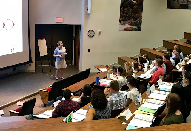 "Dr. Libby Parins, a Center for Deployment Psychology team member, teaches the 2019 ""Summer Institute"" cohort during one of 2018's sessions. (Photo by Center for Deployment Psychology, USU)"