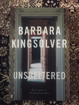 """Photo of book cover of """"Unsheltered"""" by Barbara Kingsolver"""