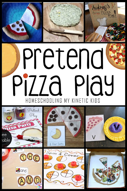 Pretend Pizza Play Ideas // Homeschooling My Kinetic Kids // 16 ways to play pretend and learn with pizza.  Celebrate National Pizza Day (Feb 9) with play!  So many ideas from DIY felt play food to pizza sauce slime to paper toppings kids can make themselves.  Learn fractions, money, patterning, and more with pizza!