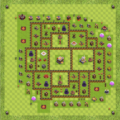 War Base Town Hall Level 11 By pleasebenchtcon (Anti 3/anti 2 110k TH 11 Layout)