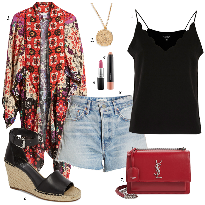 floral paisley kimono, denim shorts, scalloped camisole, wedge espadrilles, initial necklace