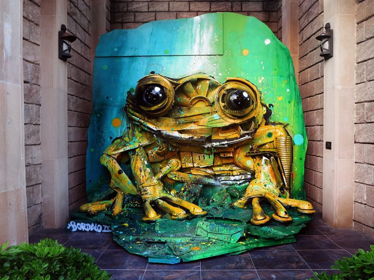 Street Artist Transforms Ordinary Junk Into Animals To Remind About Pollution - Yellow Frog