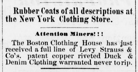 Levi's advertisement 1881