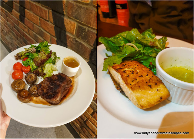 steak and salmon at Mr Toads Dubai
