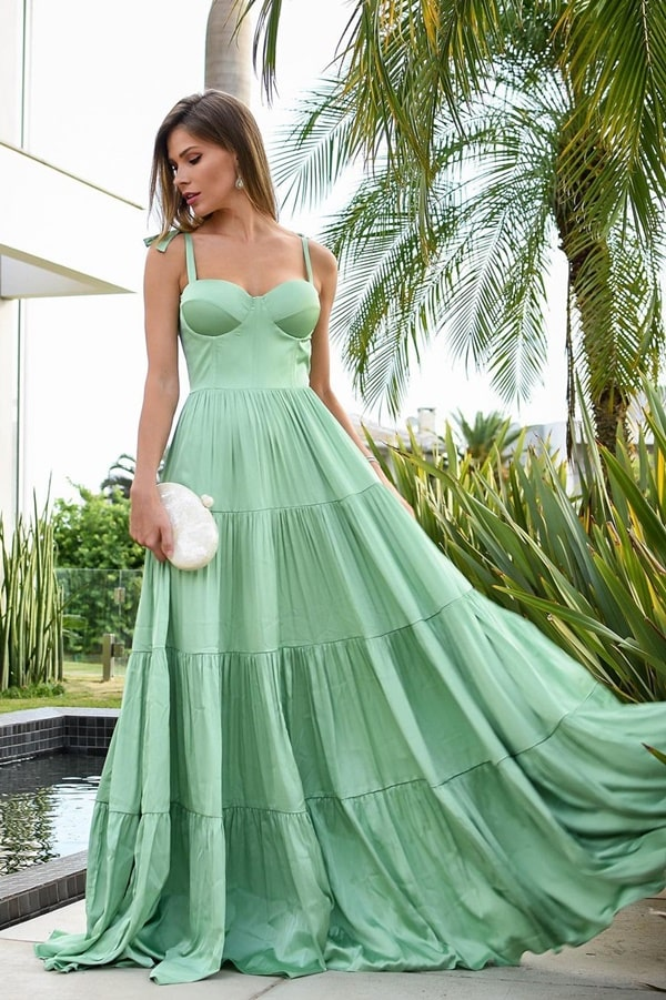 vestido verde menta longo para madrinha de casamento