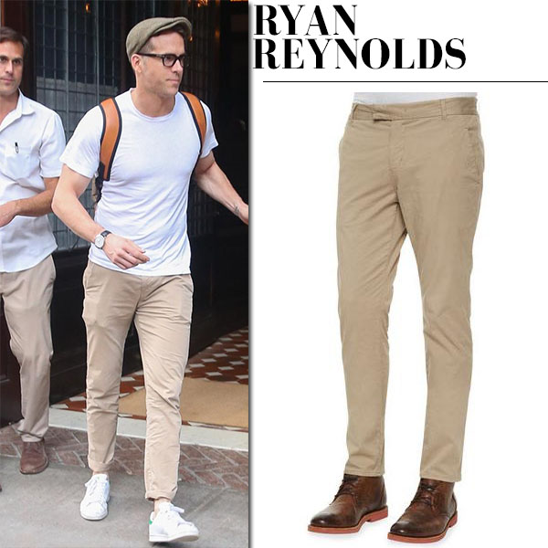Ryan Reynolds in white t-shirt and chinos j brand brooks streetstyle fashion for men