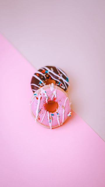 Donuts, dessert, sweets, pink background