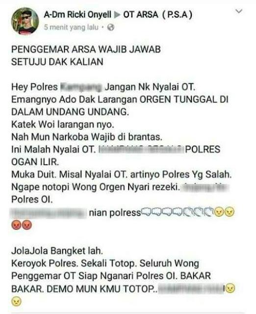 Larang OT Remix, Polres Ogan Ilir Dibully