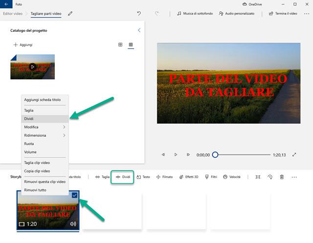 dividere video con foto di windows 10