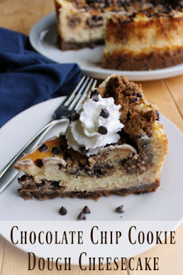 slice of chocolate chip cookie dough cheesecake on serving plate with title text on bottom