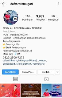 Follow Instagram Sekolah Pramugari Indonesia ig:daftarpramugari
